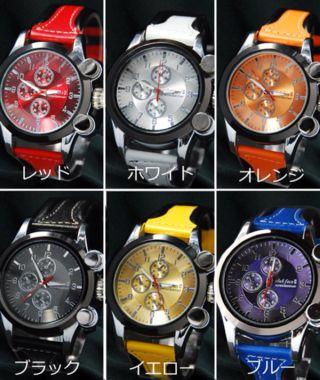 送料無料本革メンズ腕時計