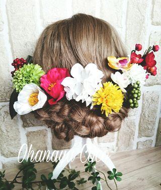 訳あり割引 椿とマムの髪飾り13点Set No108