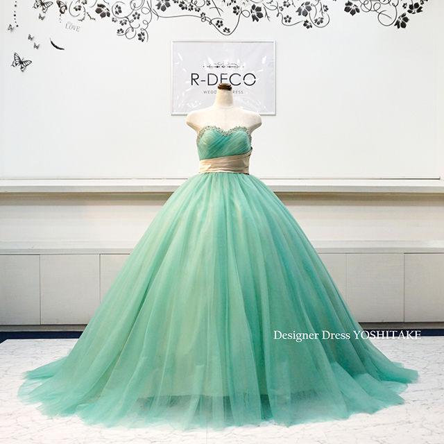 ウエディングドレス(パニエ無料) グリーンチュール