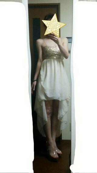 フワフワシフォン□オフホワイト ショートインドレス