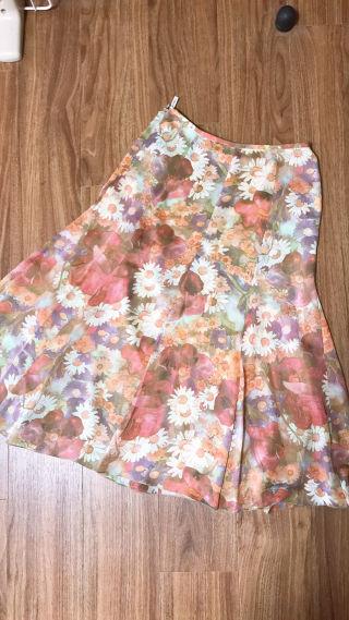 美品 クリスチャンオジャール 花柄 スカート フラワー