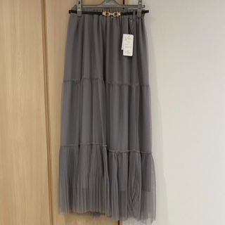 新品裾プリーツチュールロングスカートL