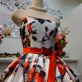 ウエディングドレス(パニエ無料) 白ベース花柄ドレス