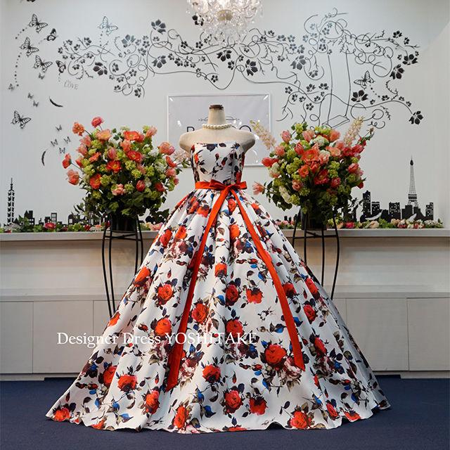 ウエディングドレス(パニエ無料) 白ベース花柄ドレス - フリマアプリ&サイトShoppies[ショッピーズ]