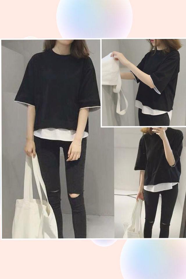 新品体型カバー重ね着風ロングTシャツ韓国人気ゆった - フリマアプリ&サイトShoppies[ショッピーズ]