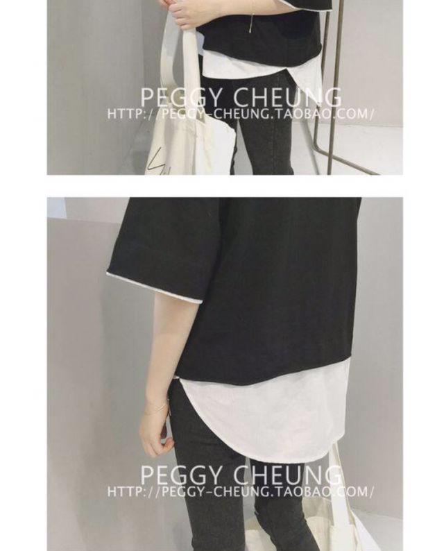 新品体型カバー重ね着風ロングTシャツ韓国人気ゆった