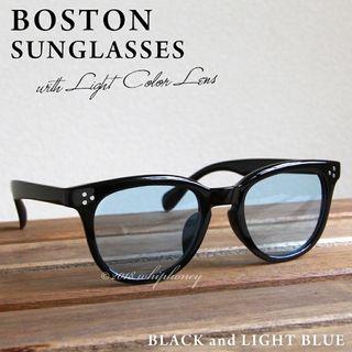 ブラック ボストン フレーム だて眼鏡 ライトスモークブルー