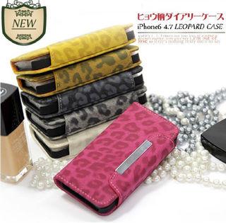 ヒョウ柄iPhone6/6S 手帳型レザーケース