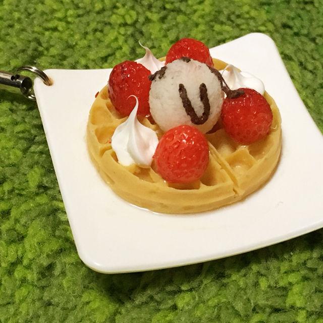 ミニチュア食品サンプル(ストラップ)アイスクリームワッフル