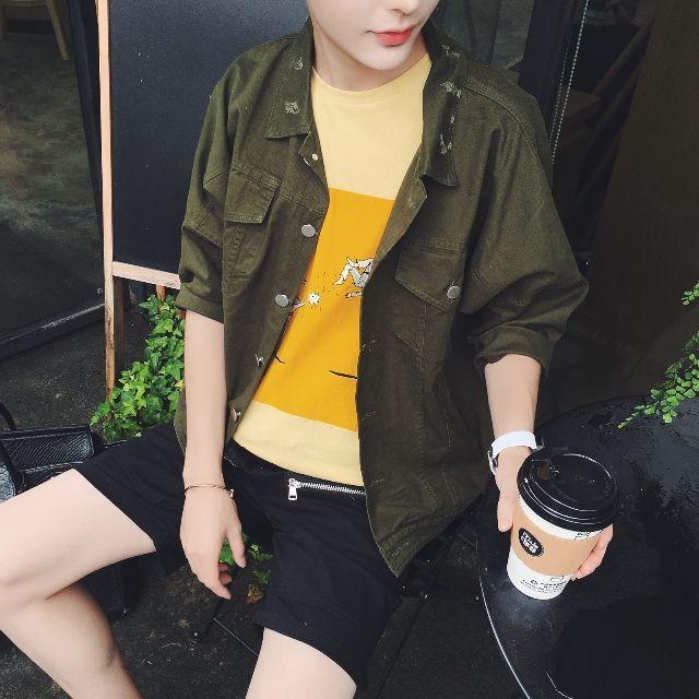 新品 メンズジャケット 半袖カジュアル おしゃれ D25-1