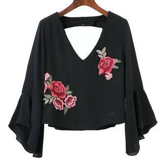 新品花柄刺繍背中キレイトップス ブラック