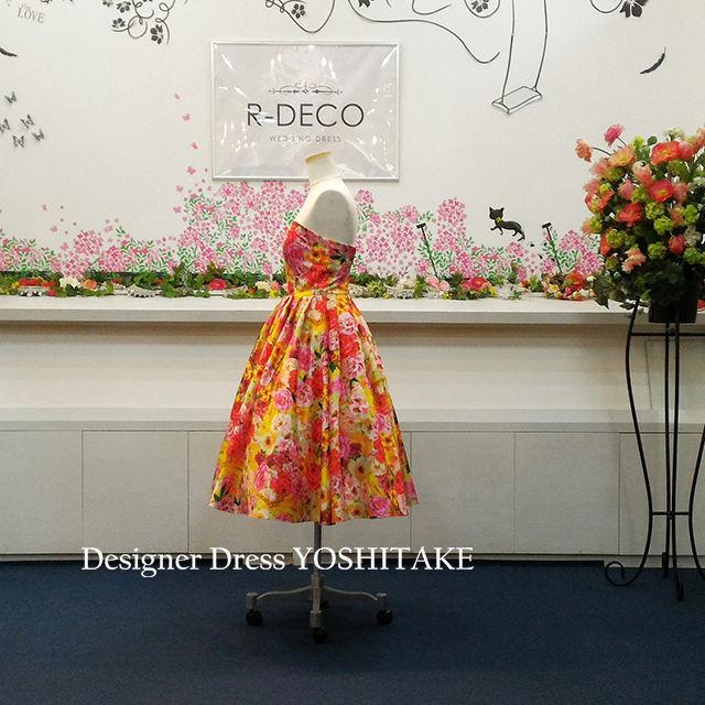 ウエディングドレス(パニエ無料) オレンジ花柄ショート