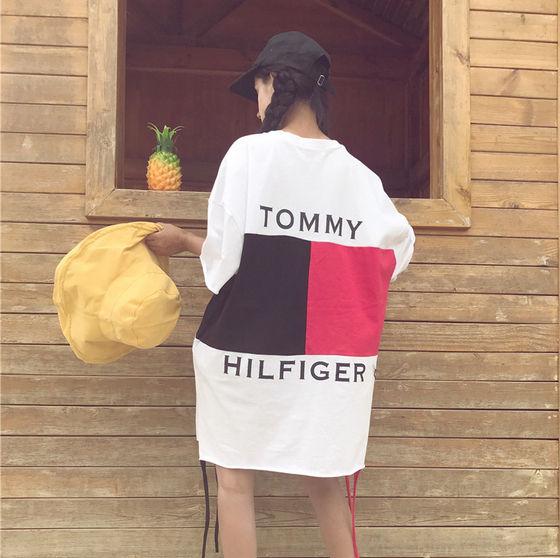 トミーヒルフィガーミニワンピ ロングTシャツ 半袖(Tommy Hilfiger(トミーヒルフィガー) ) - フリマアプリ&サイトShoppies[ショッピーズ]