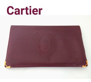 Cartier レザー 長財布 札入れ ボルドー ワイン