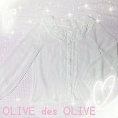 OLIVE des OLIVE襟付きシフォンブラウス