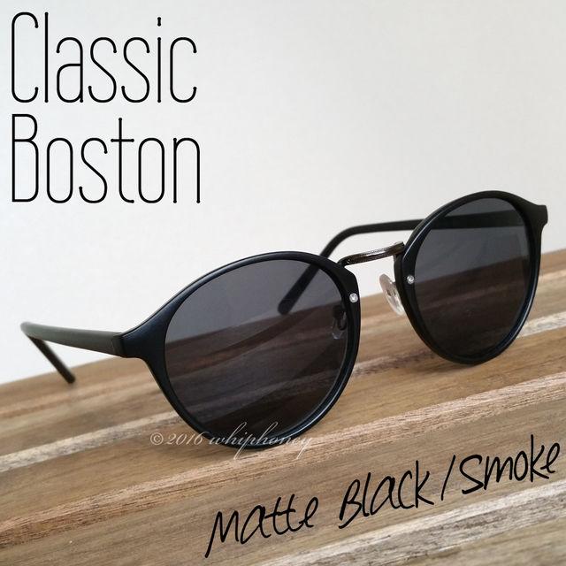 レトロクラシックボストンUVサングラス 艶消しマットブラック