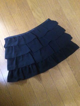 RESTIR黒フリルシフォンミニスカート