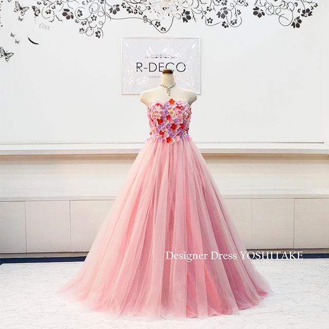 ウエディングドレス(Aラインパニエ無料) 花びらドレス