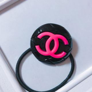 黒×ピンク BIGココヘアゴム