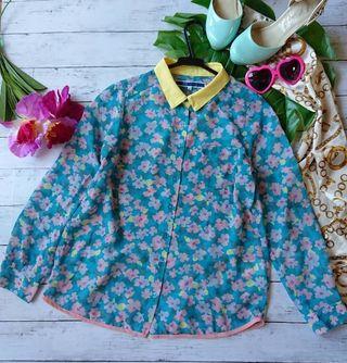 新品!エンポリえり風配色スソパイピング花柄シフォンシャツ