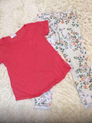 マチャットTシャツ、花柄パンツ