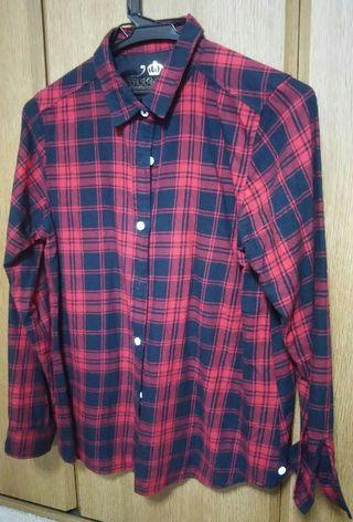 赤×黒カジュアル*チェックシャツ*HKWL