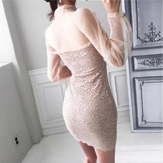 即日発送!ピンク リボン 透け感 ミニドレス キャバドレス