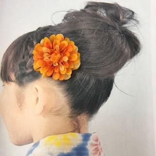 ダリア  髪飾り  コサージュ