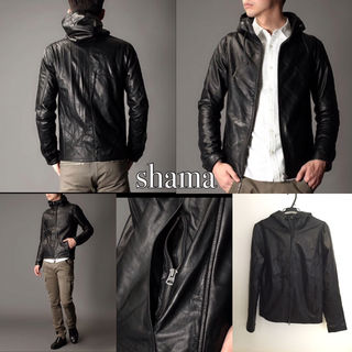 shama レザーフードジャケット ナノユニバース