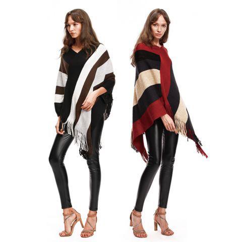 新品裾フリンジポンチョ風トップス ブラック