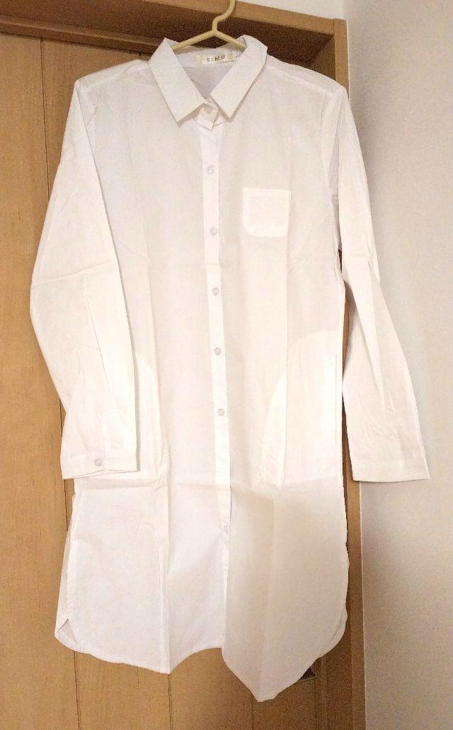 ビッグシルエット 白 シャツ ロング ワンピース