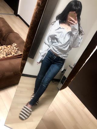 EMODA マルチボーダー ツイストシャツ バックリボン