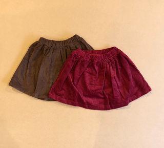 コーデュロイスカート*ブラウン/ワインレッド