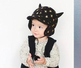 可愛いモコモコ帽子ブラック