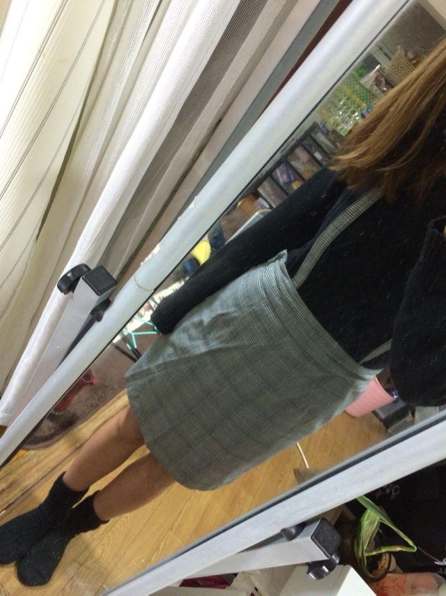 ナイスクラップ グレンチェックサスペンダー付きスカート