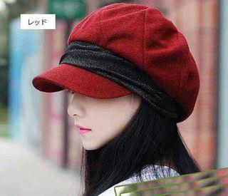 【レッド】小顔効果 防寒 キャスケット 帽子 レディース