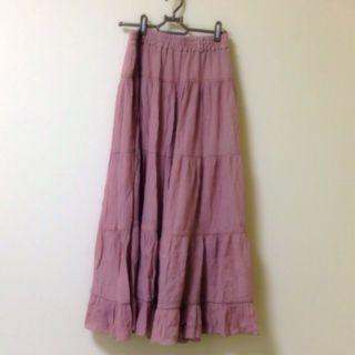 夏用ピンクのひらひらロングスカート