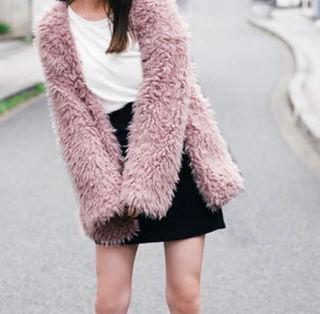 ボア ノーカラー コート ピンク