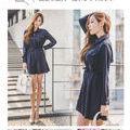 美品シャツワンピース ネイビー 韓国ファッション