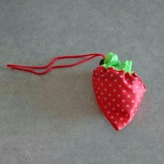 苺折りたたみエコバッグ(ピンク)