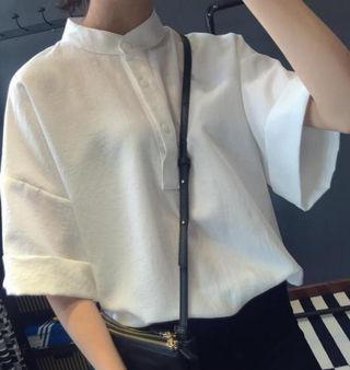 ふんわり袖シャツ ホワイト L