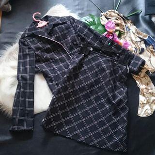 美品!スコットクラブ刺繍チェックスカートスーツ2点セット