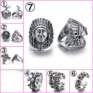 392 デザインクロス、骸骨、インディアンリング指輪