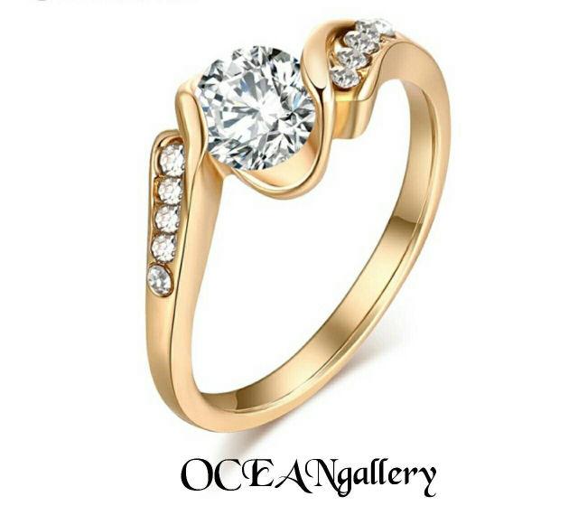 15号 ゴールドクリアスーパーCZウエディングリング指輪