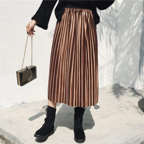 【即日発送】 キャメル ベロア プリーツスカート ミモレ丈