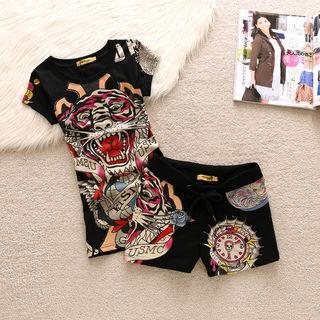 EdhardyTシャツ上下セット刺繍カッコイイファッション