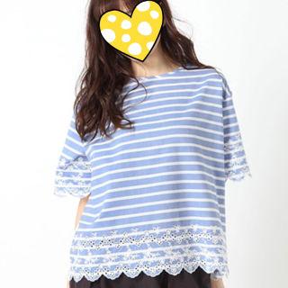 【-3】ボーダー刺繍×カットプルオーバー Tシャツ