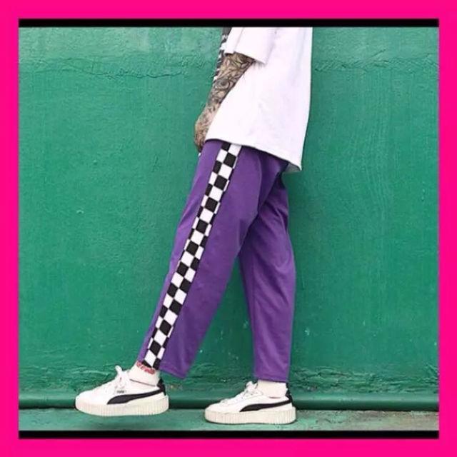 チェック柄 ラインパンツ 韓国系 ストリート系 紫 黒