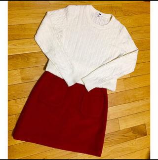 【美品】ウール100% 台形ミニスカート