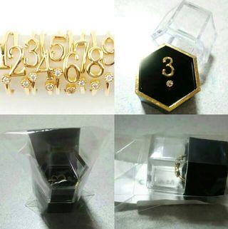 運命数 リング 指輪 ナンバー 3  フリーサイズ ゴールド